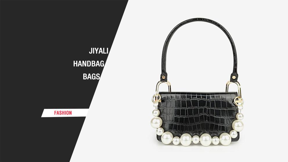 JIYALI crocodile pattern multi-color optional handbag with pearl chain decoration